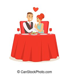 Happy elegant couple enjoying romantic dinner date while sitting in a cafe colorful characters vector Illustration