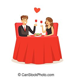 Happy elegant couple sitting in a cafe, man and woman holding glasses of red wine enjoying romantic dinner date colorful characters vector Illustration