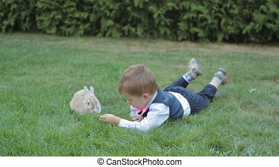 Happy elementary age blond child lying on grass at the park with a little bunny.