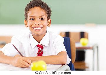 elementary schoolboy writing in classroom