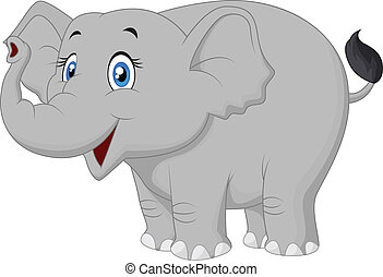 Happy elephant cartoon - Vector illustration of Happy...