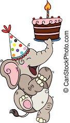 Happy elephant holding a birthday cake
