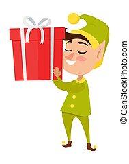 Happy Elf with big Present on White Background