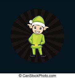 Happy Elf with Retro Background