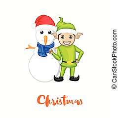 Happy Elf with Snowman Vector