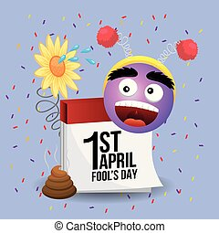 happy emoji face with calendar to fools day