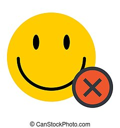 Happy emoticon smile face isolated on white background. Vector character icon