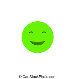 Happy emotion anthropomorphic face. Green smile isolated on a white background