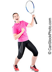 Happy emotional rejoices tennis player on a white background