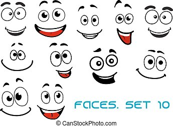 Happy emotions on cartoon faces