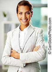 Happy employee - Portrait of successful businesswoman ...
