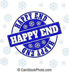 Happy End Scratched Round Stamp Seal for Xmas
