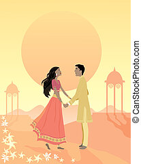 happy ending - an illustration of an asian couple standing...