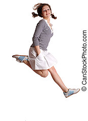 Happy energetic cute girl jumping into the air. Isolated on...
