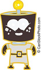 happy energized flat color style cartoon robot