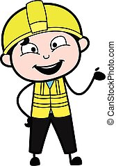 Happy Engineer Cartoon Illustration
