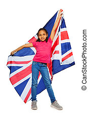 Happy English learner proudly hold big UK banner