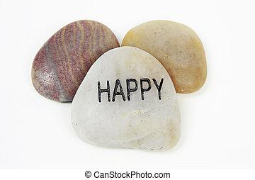 Happy engraved on stone
