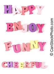 Happy Enjoy Funny isolated on white background