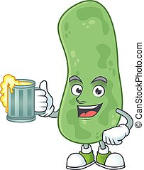 Happy enterobacteriaceae mascot style toast with a glass of beer