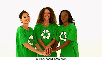Happy environmental activist cheeri