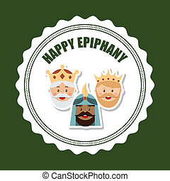 happy epiphany over green background vector illustration