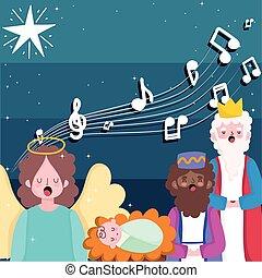 happy epiphany, three wise kings baby jesus and angel sing christmas carols