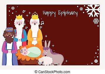 happy epiphany, three wise men baby jesus donkey sing christmas carols