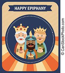 happy epiphany over blue  background vector illustration