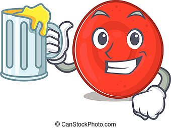 Happy erythrocyte cell mascot design with a big glass. ...
