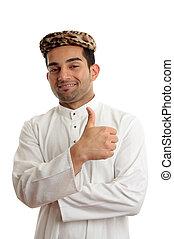 Happy ethnic man thumbs up success