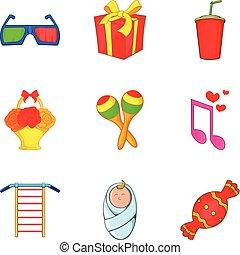 Happy event icons set, cartoon style