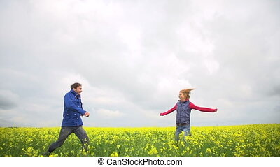 Happy Ever After - Boy and girl running to each other in the...