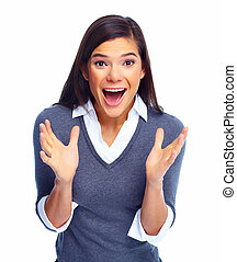 Happy excited business woman.