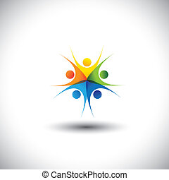 happy, excited colorful children or kids playing together - vector graphic. This illustration also represents friendship, harmony, trust, togetherness, meetings, integrity, unity, community
