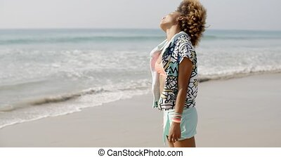Happy Excited Woman By The Sea - Young seductive african...
