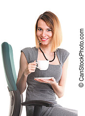 happy excited young businesswoman, relaxing in office chair, relax isolated on white