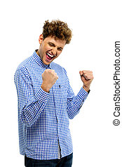 Happy excited young man over white background