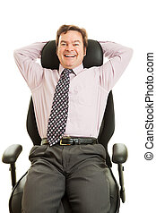 Happy Executive in Ergonomic Chair - Happy smiling...