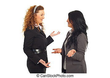 Happy executives women having conversation