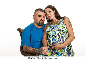 Happy expecting tattooed couple - A tattooed expecting...