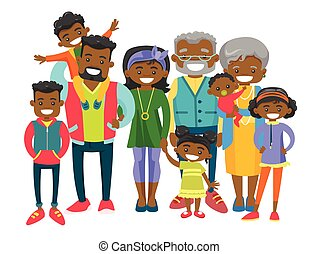 Happy extended african-american family.
