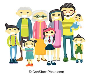 Happy extended asian family with many children.