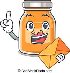 Happy face apple jam mascot design with envelope