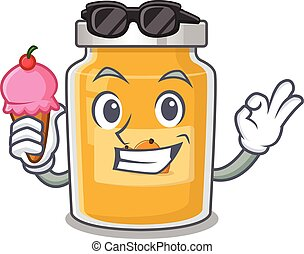 happy face appricot cartoon design with ice cream