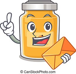 Happy face appricot mascot design with envelope