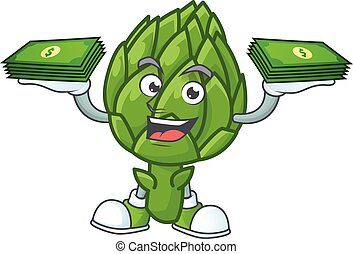 Happy face artichoke character with money on hand