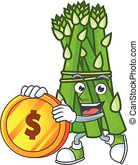 happy face asparagus cartoon character with gold coin