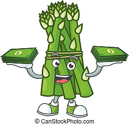 Happy face asparagus character with money on hand