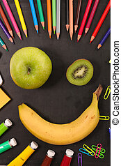 happy face banana and apple, back to school concept